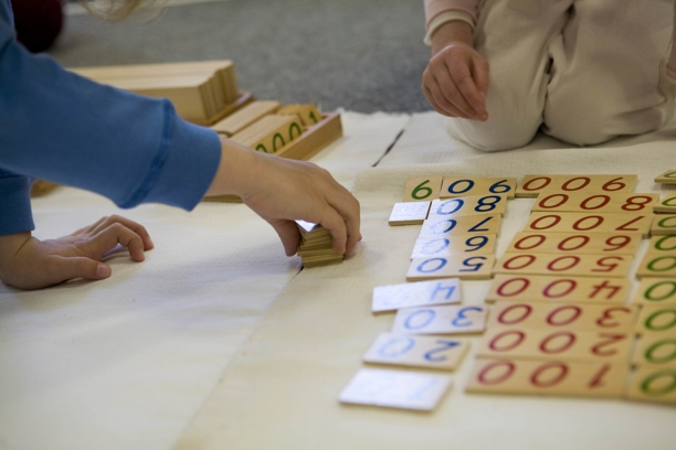 Students Playing with Number Blocks