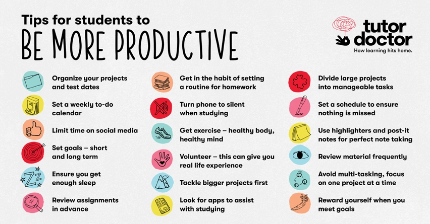 Tips for Students to be more productive infographic from Tutor Doctor