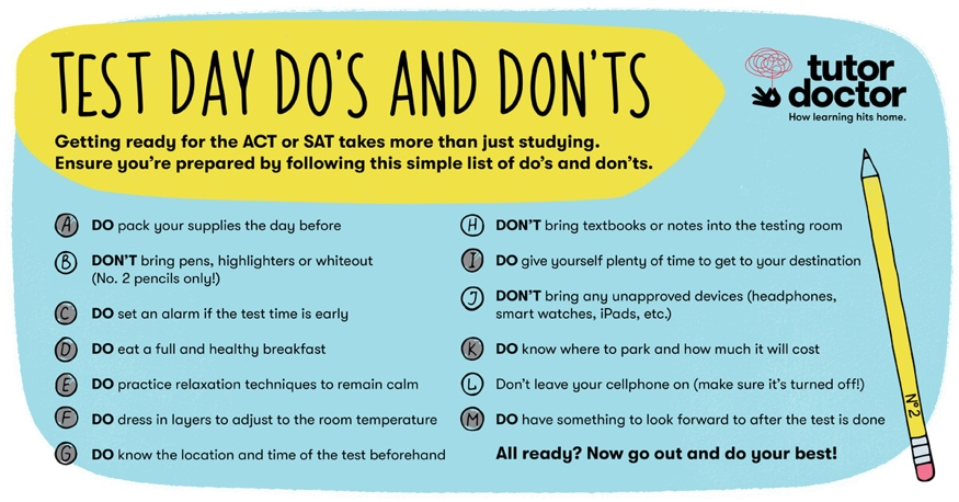 Test Day Do's and Don'ts infographic